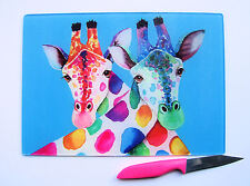 Unique Glass Chopping Board with a vibrant GIRAFFES design by artist Maria Moss