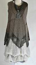 SARAH SANTOS wool parchaute DRESS/ tunic 2 pieces  COFFEE & CREAM  SIZE XXL/XXXL
