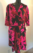 NWT JUST TAYLOR knee-length 3/4 sleeve dress crossover top black multi 18W