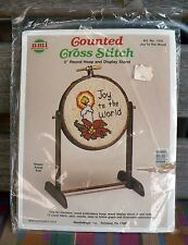 "NMI COUNTED CROSS STITCH 3"" ROUND HOOP DISPLAY STAND JOY TO THE WORLD SEALED"