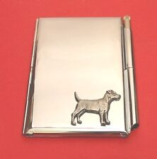Patterdale Terrier Motif on Chrome Notebook / Card Holder & Pen Christmas Gift