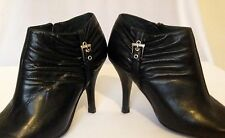 Women's Ankle Boots Black Leather Top End, Size 36.5, with Silver Buckle Detail