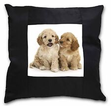Cockerpoo Puppies Black Border Satin Scatter Cushion Christmas Gift, AD-CP3-CSB