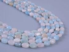 """0349  8mm Natural aquamarine morganite beryl flat oval loose gemstone beads 16"""""""