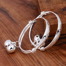 Cute Baby Bangle 2pcs Silver Baby Kid Bell Bracelet Fashion Gift