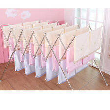 Stainless Large Folding Clothes Drying Laundry Towel Rack Collapsible Sturdy