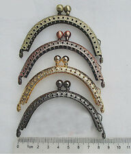 "4 Pcs Lot 8.5cm 3.4"" Metal Flower Coin Craft Purse Bag Frame Clasp Lock Hand"