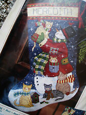 Christmas Dimensions Needlepoint Stocking Kit,SNOWMAN AND KITTIES,Winget,9127,16