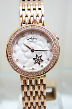 NEW Rotary Ladies watch Rotating Flower Rose gold plated mother of Pearl RRP£180
