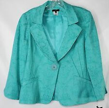 NWT VEX Collection Career  Women's 40 Turquoise 3/4 Lined 1 Button Front Blazer