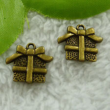 Free Ship 120 pcs bronze plated gift box charms 16x15mm #2567