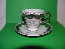 Norcrest Fine China Silver 25th Anniversary tea cup and saucer set