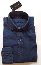 RALPH LAUREN BLACK LABEL WOMEN'S DARK INDIGO BLUE DENIM SHIRT SIZE SMALL