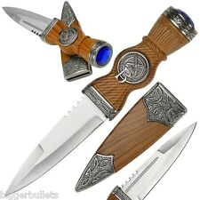 "Celtic Scottish Highland Sgian Skean Dubh Dirk Dagger 9"" BN Knife Blue Jewel"