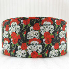 1 METRE SKULLS & RED ROSES 25MM GROSGRAIN RIBBON Craft Bow Sewing FLORAL RB24