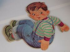 Vintage 1960s Die Cut Wall Decor Press Board Boy in Overalls Wall Art Hanging