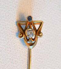 Vintage 1920s Saphire and Pearl 14K Gold Stick Pin
