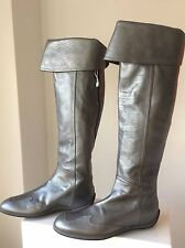 "New HOGAN Tod's Silver Grey Leather Over Knee Boots 39 9 Wingtip 22"" Tall $550"