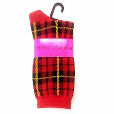 BETSEY JOHNSON Casual Socks, Ladies SZ 9-11 Mad About Plaid Sock Red NEW