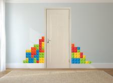 Ladrillos Lego Pared Adhesivo Para Dormitorio De Niños Pared Arte Calcomanía Mural.