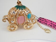 Betsey Johnson fashion jewelry Crystal Opal pumpkin car pendant necklace # F068B