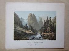 1850ca WELLHORN WETTERHORN ROSENLAUI GLACIER litografia Fischer Ochsner Bern