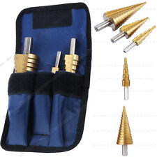3Pcs Large HSS Steel Step Cone Drill Bit Set Hole Cutter + Blue Storage Pouch