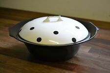 VINTAGE MYOTT 1950s black and white polka dot vegetable serving dish with lid