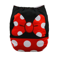1 Baby Cloth Diaper Nappy Reusable Washable Pocket Animal Mouse Bowknot Girls