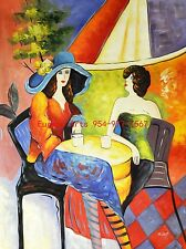 """36x48""""(92x122cm) 100% hand painted oil flat,Tarkay,Cafe Lady"""