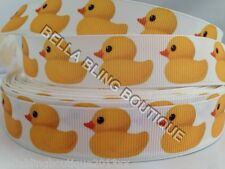 "1 METRE WHITE & YELLOW DUCK  BATH BABY GROSGRAIN RIBBON 22MM 7/8"" BOW CAKE CARD"