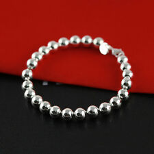 Women Jewelry 925 Sterling Silver Plated Beads String Chain Bracelet Bangle New