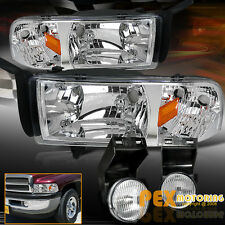 (SHINY CHROME) 1994-2001 Dodge RAM 1500/2500/3500 Headlight W/Signal + Fog Light
