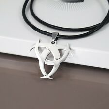 Silver Biohazards Poison Bio Hazard Pendant 3mm Mens Black Leather Necklace NEW