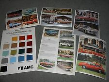 1975 GREMLIN HORNET MATADOR PACER PAINT CHIPS BROCHURE + 4 HUGE AMC POSTCARDS