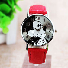 Cartoon Mickey Mouse Leather Wrist Watch Lady Girl Women Teens Kids Watche-Red