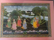 RADHA KRISHNA HINDU INDIA GODDESS WEDDING  INDIAN SILK FRAMED LANDSCAPE