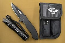 "STURGIS RALLY USA-T102 8"" FOLDING KNIFE AND FLASHLIGHT SELF DEFENSE TACTICAL KIT"