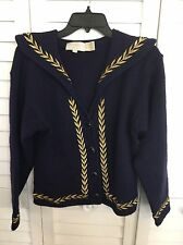 The Eagle's Eye Vintage Women Size Medium Wool Navy Blue Sweater Cardigan Laurel