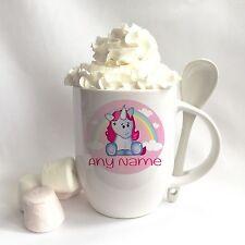 Personalised Cute Unicorn Ceramic Mug and Spoon Set gift