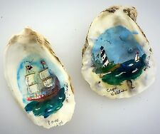 Vintage Hand Painted Lighthouse Sailboat Old Oyster Sea Shells Signed Folk Art