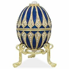 Vintage Hand Made Blue Enamel Pewter Jeweled Faberge Easter Egg w/Gift Box