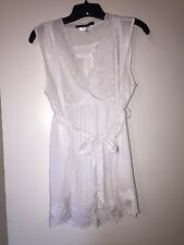Pea In Pod Maternity Lace Stitch L Large White Sleeveless Blouse Peasant Style