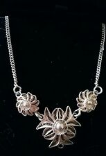 Vintage Continental silver filigree necklace