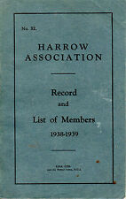 HARROW ASSOCIATION - RECORD & LIST OF MEMBERS 1938-1939 (including Churchill)