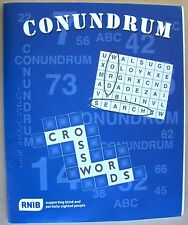 Conundrum Word Search And Crossword Puzzles Braille for the Blind (BLUE)