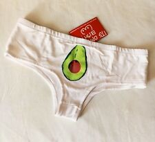 O Mighty Omweekend Avocado White Women's Panties Cheeky Underwear NWT Xs/s