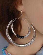 Grandissimi Cerchi Orecchini argento,cristalli neri  ,donna,idea regalo