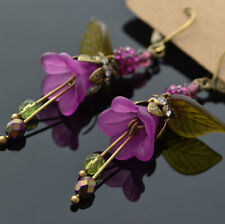 PURPLE LUCITE FLOWER ORCHID GARDEN GLASS CRYSTAL COUNTRY OLIVE LEAF NEW EARRINGS
