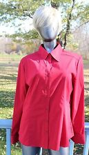 New York & Company XL Red Stretch L/S Blouse NWT Cotton Poly Spandex